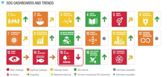 SDGs目標15.達成度_評価と傾向_2021