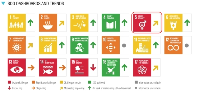 SDGs目標5.達成度_評価と傾向_2021
